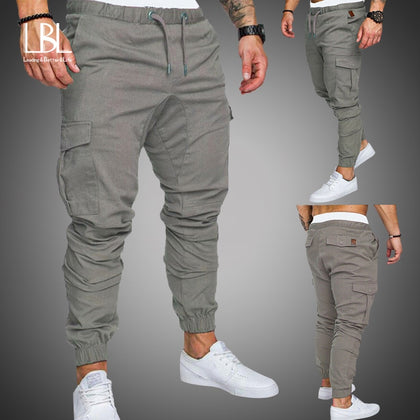 Men Hip Hop Joggers Pants New Male Trousers Mens Solid Multi-pocket Cargo Pants Skinny Fit Sweatpants