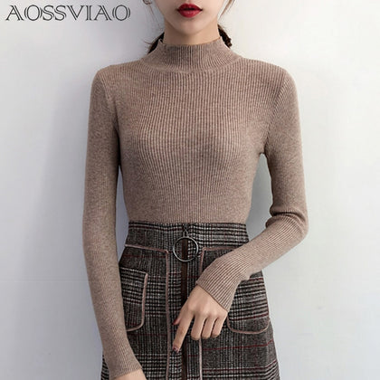 Women Pullovers Sweater Knitted Korean Elasticity Casual Jumper