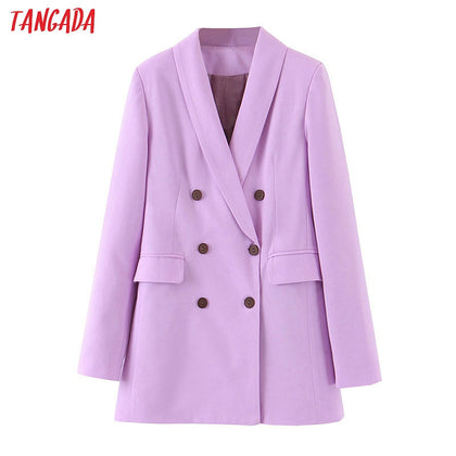 women purple blazer long sleeve korea style