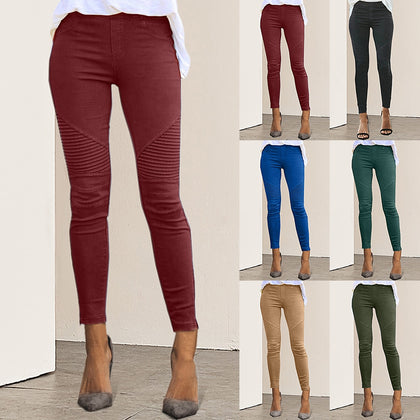 Women High Waist Trousers Slim Fit
