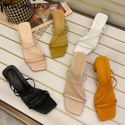 Women Summer Outdoor Sandal High Square Heel Flip Flop