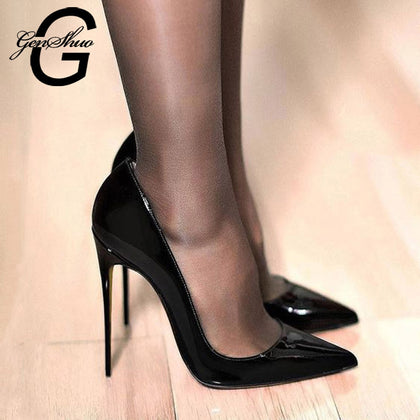 Women Pumps Brand High Heels Black Patent Pointed Toe Stiletto Shoes