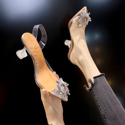 Luxury Women Pumps Transparent High Heels Pointed Toe Slip-on