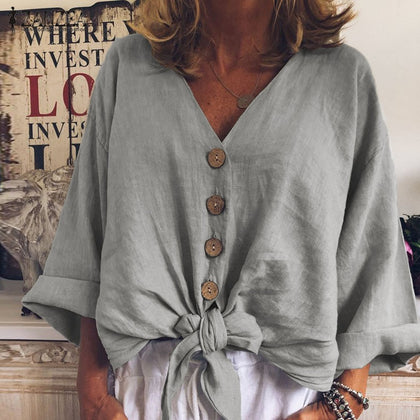 Women Long Sleeve Shirt Casual Cotton Linen Tops Sexy V Neck Buttons Down Knot Tunic