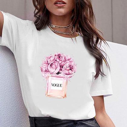 Flower Perfume Bottle Sweet Short Sleeve Tshirt Printed Women Shirt T Female T-shirt  Top