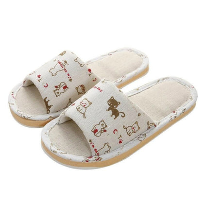 Women Home Slippers Indoor Floor Soft Couple Linen Slipper Flip Flop