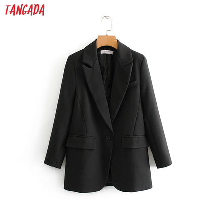 fashion women black suit blazer long sleeve