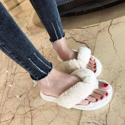 Winter Fashion Women Home Slippers Faux Fur Warm Shoes Flip Flop