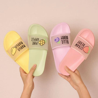Summer Slippers Shoes Women cute Fruit Jelly Color Transparent open Toe Flip Flops