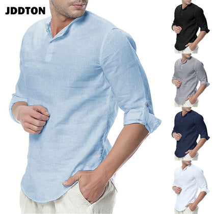 New Men's Summer Long Sleeve Cotton Linen Long Sleeve Cotton Casual Breathable Shirts Style Solid Male Shirts JE065