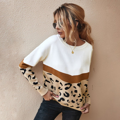Fashion Leopard Patchwork Autumn Winter Ladies Knitted Sweater
