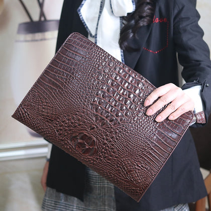 Simple Alligator Crocodile Leather Women Clutch Ipad bag Envelope Day Clutches