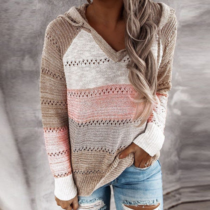 V Neck Patchwork Hooded Sweater