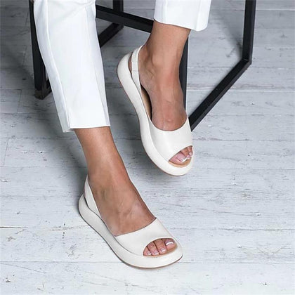 Summer Women Flat Fish Mouth Sandals Thick Bottom SOft Sole Casual Shoes