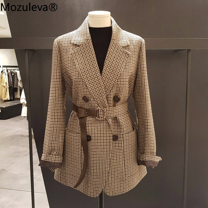 Korean Plaid Women Work Blazer Jacket