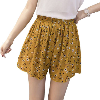 Loose Boho Floral Casual Women Chiffon Shorts Polka Dot Shorts