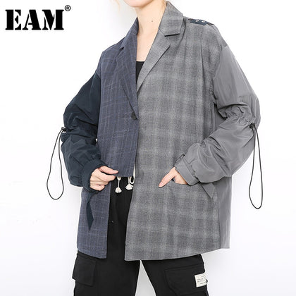 Women plaid drawstring big size irregular Blazer