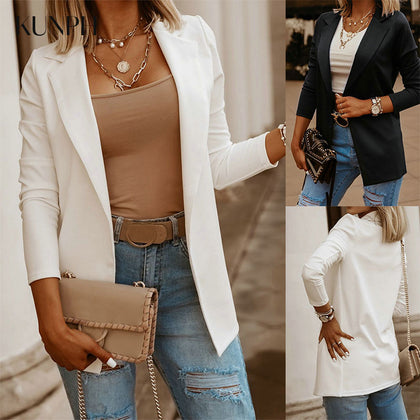 Blazer Jacket Women Long sleeve Coats Notched Collar Outerwear