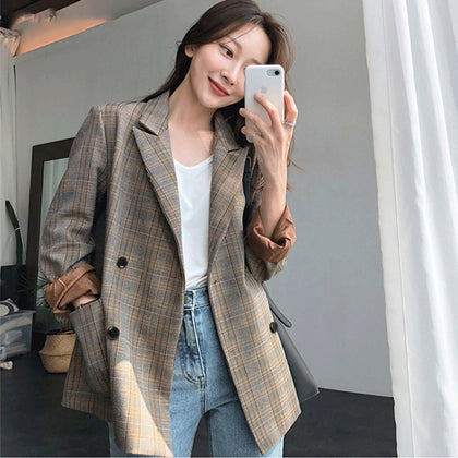 Plaid Double Breasted Women Blazer Oversized Full Sleeve Grid