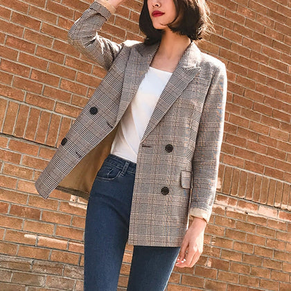 Vintage Notched Bouble Breasted Plaid Women Blazer