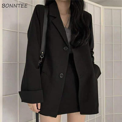 Autumn Korean Basic Chic Fashion Ladies Blazer