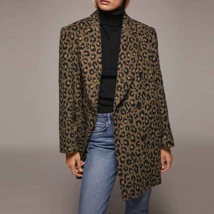 Autumn Women Blazers Leopard Printed
