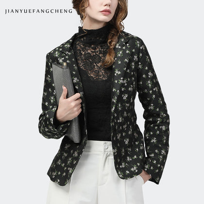 Casual Women Blazer Full Body Little Flowers Print
