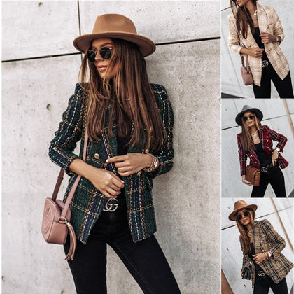 Plaid Blazer Women Spring-Autumn Vintage Jacket