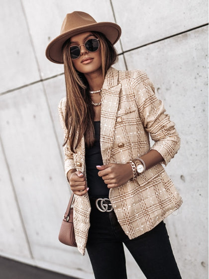 Autumn Plaid Print Women Slim Coat Blazer