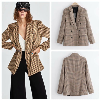 ladies casual suit new plaid double breasted suit