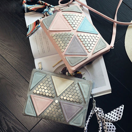 Women Leather Handbags Patchwork Triangle Sequined Teenage Girls Wristlets Crossbody Bag