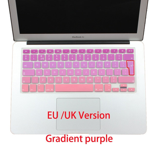 "EU/UK layout Gradient Colors Spain Russia Keyboard Cover Silicone Sticker Skin for MacBook Pro 13"" 15"" Retina Mac Air 13 A1466"