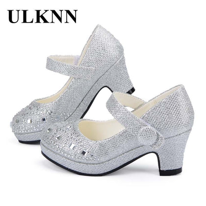 ULKNN Children Princess Shoes for Girls Sandals High Heels