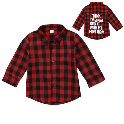 Red Plaid Fashion Toddler Kids Boy Girl Long Sleeve Back Letter Print Shirt