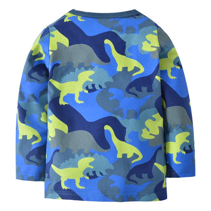 SAILEROAD Cartoon Dinosaur Children Topwear Clothes 2-7 Years Baby Kids Tops