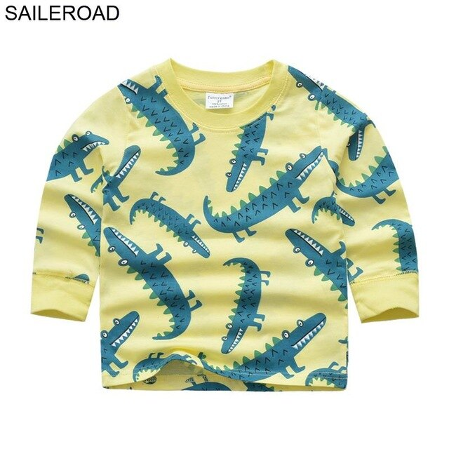 SAILEROAD Cartoon Animal Crocodile Pattern Cotton Baby Boy's T Shirt