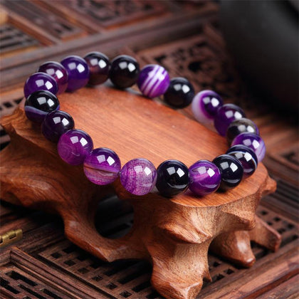 Natural Stone Love Purple Bead Bracelet Vintage Charm Round Chain Beads Bracelet