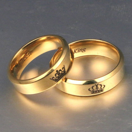 Gold colour King And Queen Stainless Steel Crown Couple Rings
