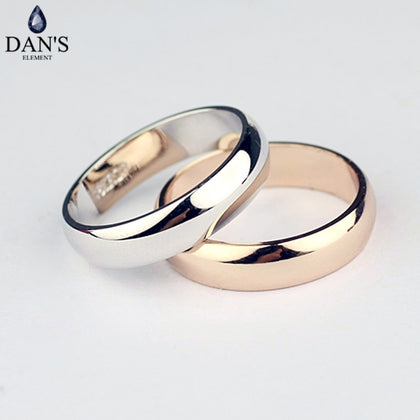 Real round Simple Couple Copper Gold Color Fashion Wedding Rings