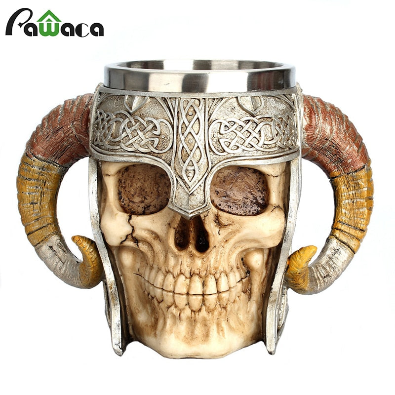 Stainless Steel Skull Mug Viking Ram Horned Pit Lord Warrior
