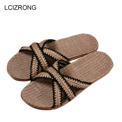 Flax Home Slippers Men Beach Floor Comfortable Flat Slippers