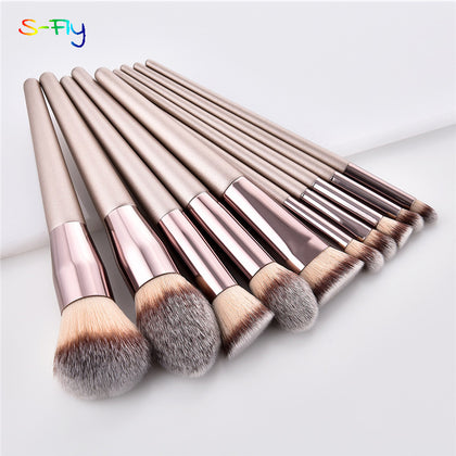 10pcs/set Champagne makeup brushes set for cosmetic (foundation powder blush)