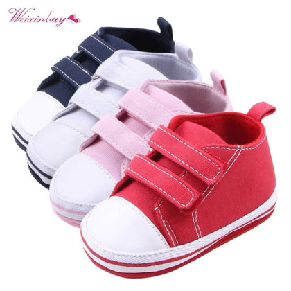 Canvas Baby Shoes Newborn Boys Girls First Walkers Soft Bottom Anti-slip Prewalker Sneakers