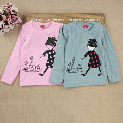Long Sleeve T-shirt For Girls Toddler Kids Clothes Baby Girls Cartoon Print T shirts
