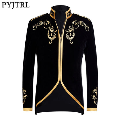 British Style Palace Prince Fashion Black Velvet Gold Embroidery Blazer