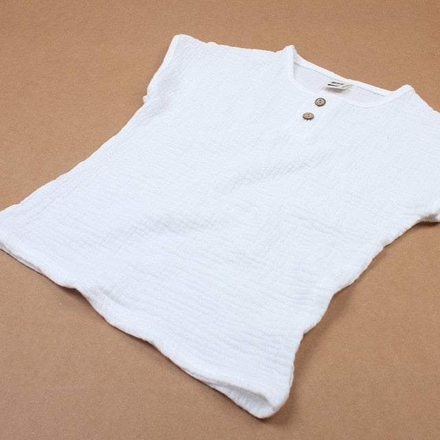 Linen Cotton Baby Boy Girl Summer T Shirts New Toddler Comfortable Tops