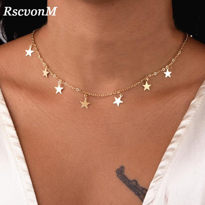 Women Jewelry Natural Alloy Gold Color Star Pendant Necklace