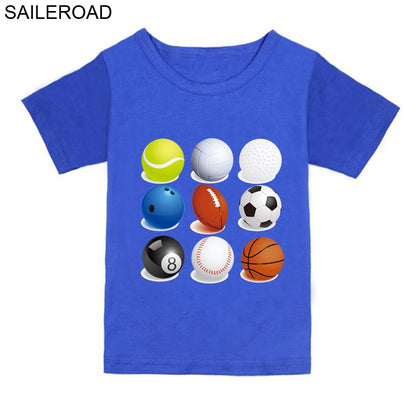 Ball Sports Wear Baby Boys T Shirt Pure Cotton Toddler Kids Girls Shorts T-Shirts