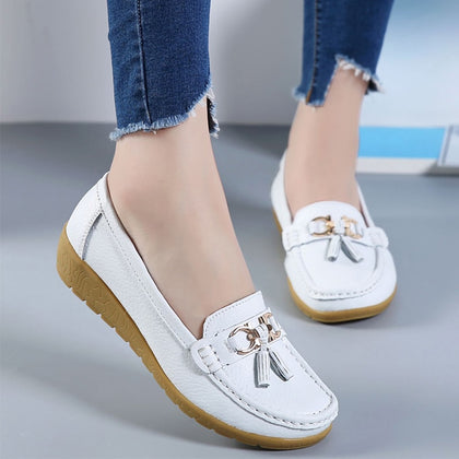 Women Ballet Shoes Flats Cut Out Leather Breathbale Moccains Women Boat Flats