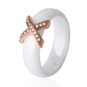 Women Ring With AAA Crystal 6/8 mm X Cross Ceramic